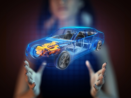 transparent car concept on hologram photo