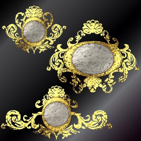 vector golden frames set Stock Vector - 17695950