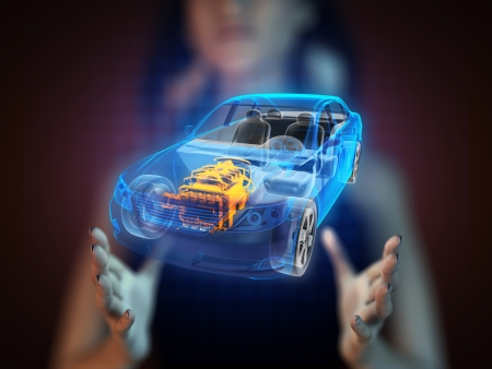 transparent car concept on hologram
