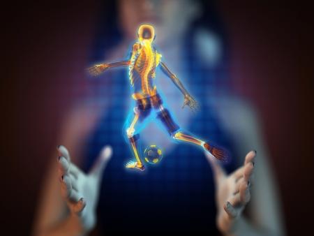 soccer game player on hologram