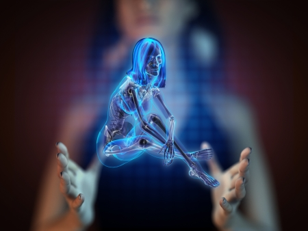 cute woman radiography on hologram photo