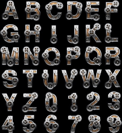 wooden alphabet with gears on black