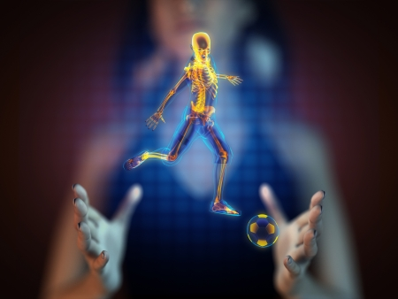 soccer game player on hologram photo