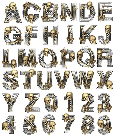 Metal alphabet with skeleton on white