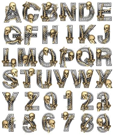 Alfabeto metallo con scheletro su bianco