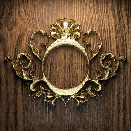 vintage golden frame on the wall Stock Photo - 17751942