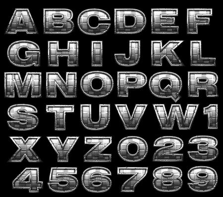 solid figure: alfabeto acciaio impostato su nero Archivio Fotografico