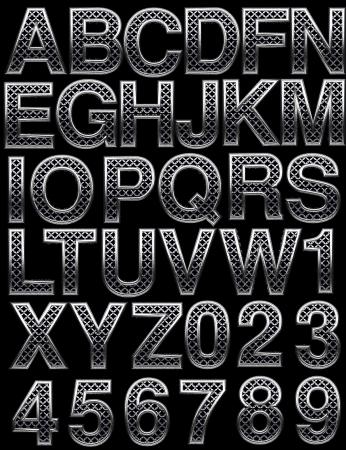 Metal alphabet set on black photo