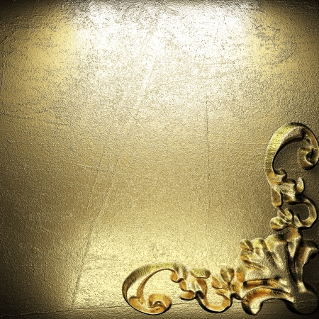 golden vintage ornament on wall photo