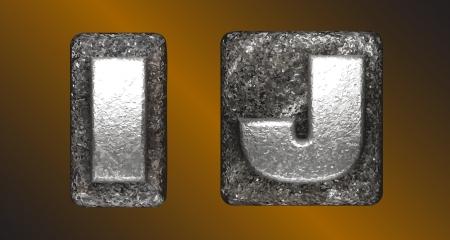 letter j: Vector Metal figure