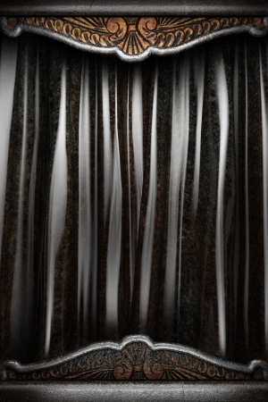 iron curtains: Metal on black silk curtain