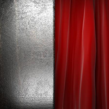 Metal on red velvet curtain Stock Photo - 17963714