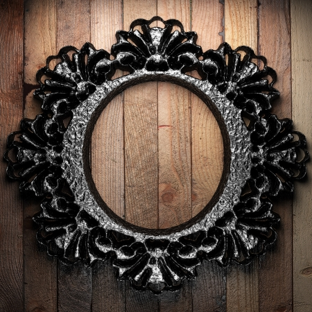 border line: vintage iron frame on the wall Stock Photo