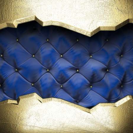 gold on blue fabric background