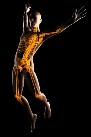 human body parts: jump man radiography on black