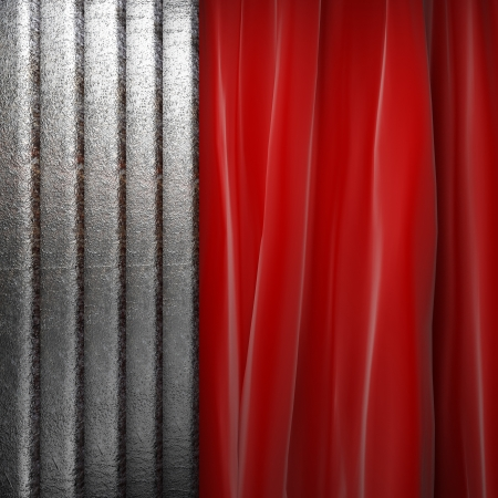 Metal on red velvet curtain photo