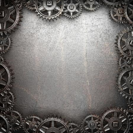 tandwielen op staal achtergrond Stockfoto