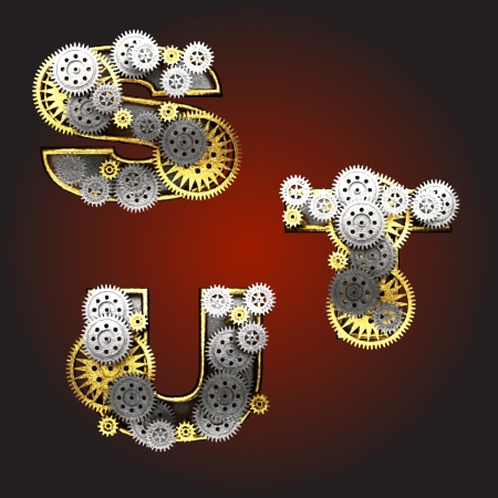 Vector metal figure  with gearwheels Vector