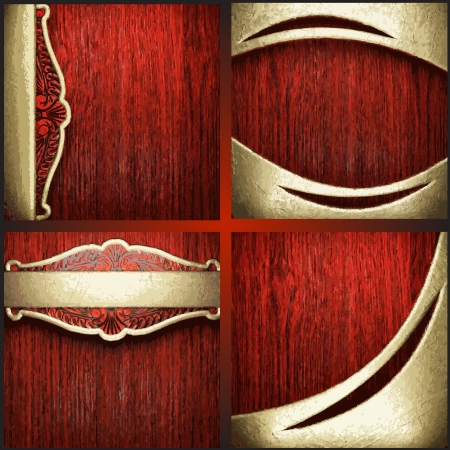 Vector red wood and gold background set Vettoriali