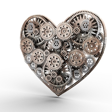 heart made of gears on white photo