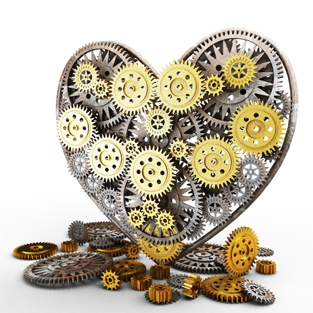 heart gear: heart made of gears on white