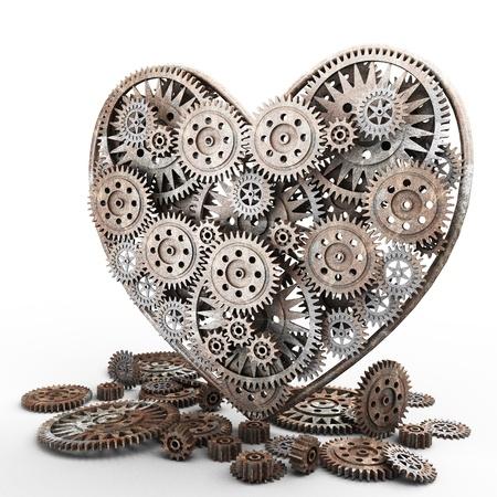 heart gear: heart made of gears on white
