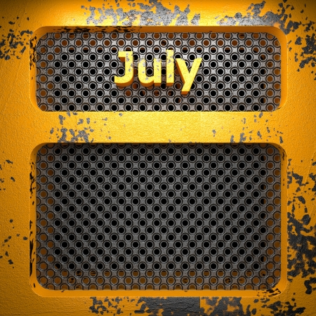 july of painted steel  on perforated wall Stock Photo - 18582113