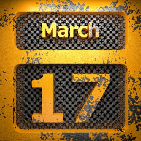 march 17: march 17 of painted steel  on perforated wall Stock Photo