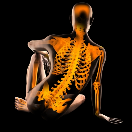 human radiography scan on black Banque d'images