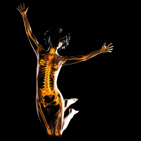 partes del cuerpo humano: mujer radiograf�a de escaneo en negro