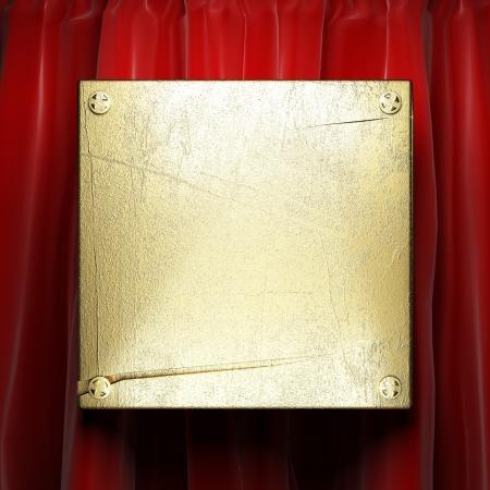 awards ceremony: gold on red velvet curtain Stock Photo