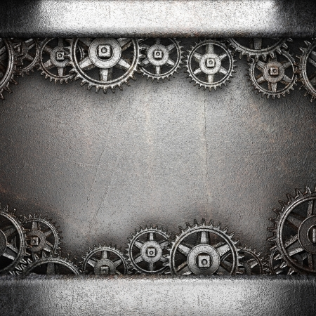 gear wheels on steel background photo