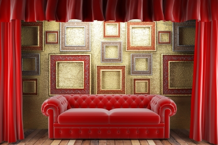 red fabric curtain with frames and sofa photo