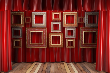 red fabric curtain with frames on stage photo