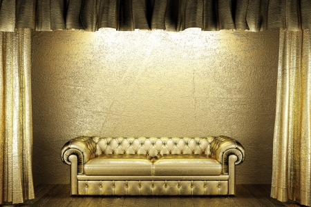 golden curtain with sofa photo