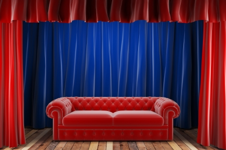 red fabric curtain with sofa photo