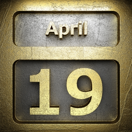april 19 golden sign on silver Stock Photo - 18772556