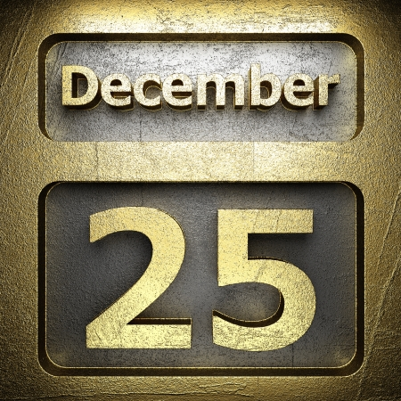 december 25 golden sign on silver Stock Photo - 18772664
