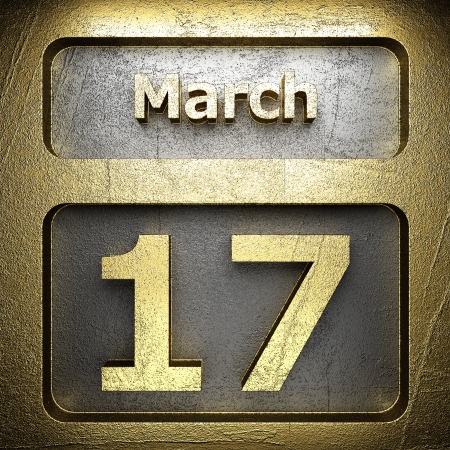 march 17: march 17 golden sign on silver