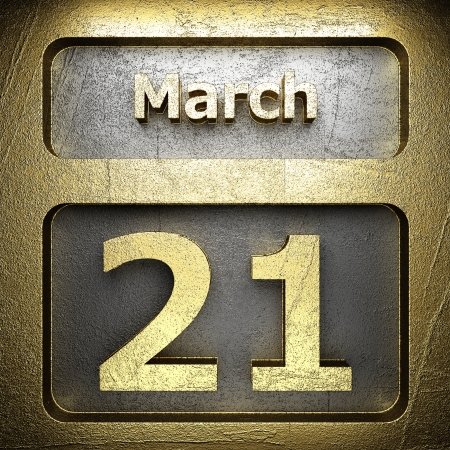 march 21 golden sign on silver Stock Photo - 18771604