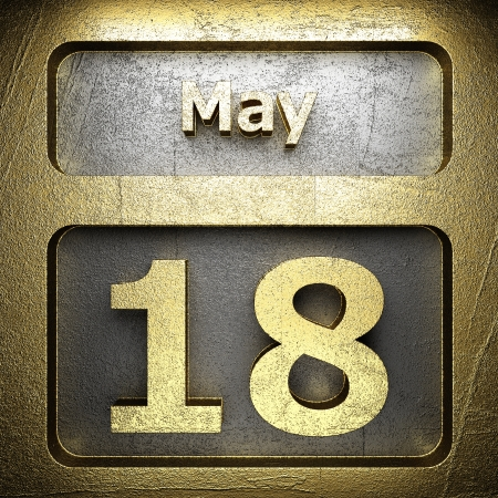 may 18 golden sign on silver Stock Photo - 18772512
