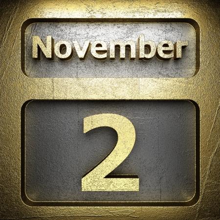 2 november: november 2 golden sign on silver Stock Photo