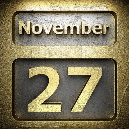 november 27 golden sign on silver Stock Photo - 18771606