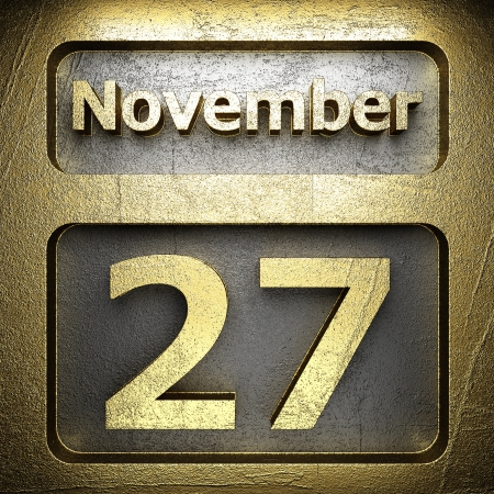 november 27 golden sign on silver Stock Photo - 18771606