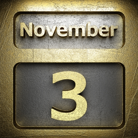 november 3 golden sign on silver Stock Photo - 18771362