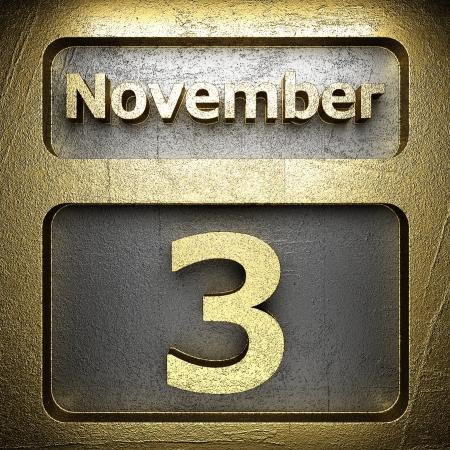 november 3 golden sign on silver Stock Photo - 18771362