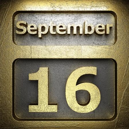 number 16: september 16 golden sign on silver