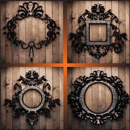 vector retro frames on wood set Stock Vector - 19020300