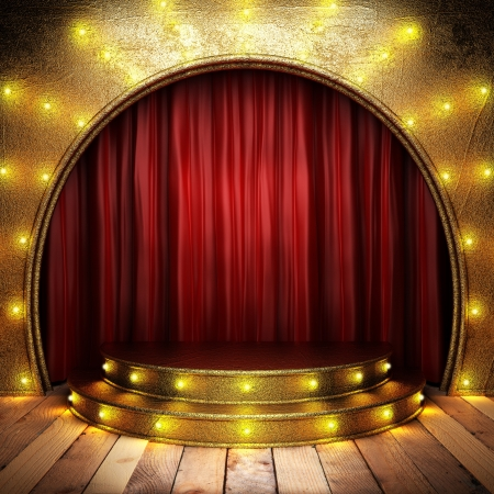 circus stage: red fabric curtain on golden stage Stock Photo