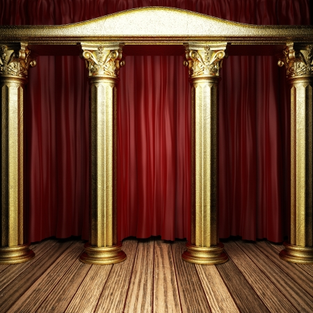 red fabric curtain on golden stage Stock Photo